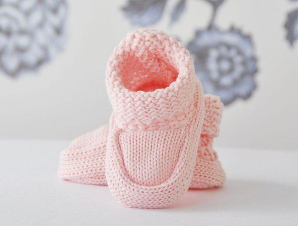 Strick-Baby-Schuhe Sweetie in Rosa - Taufschuhe von Lilly