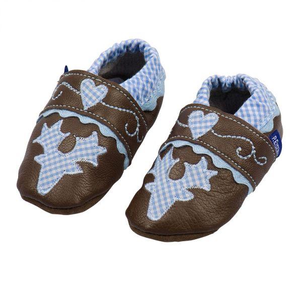 Trachtenschuhe fürs Baby - Leder Krabbelschuhe blau P. Eisenherz